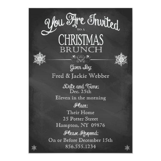 Christmas Brunch Vintage Chalkboard Invitation