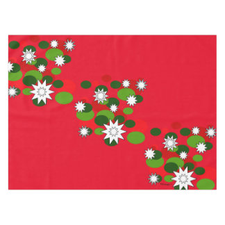 Christmas Bubbles and Stars Red Tablecloth