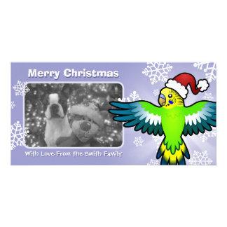 Christmas Budgie / Parakeet Personalised Photo Card