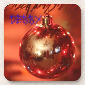 Christmas BULB Name Cork Coaster