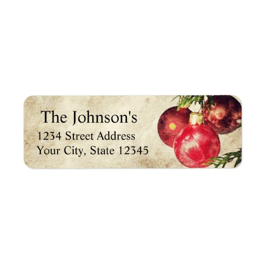 Christmas Bulbs Return Address Labels