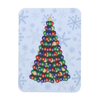 Christmas Bulbs Tree on Snowflake Blizzard Rectangular Photo Magnet