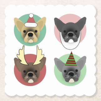 Christmas Bulldog Puppies Paper Coaster