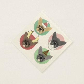 Christmas Bulldog Puppies Paper Napkin