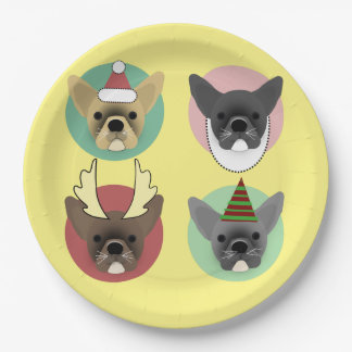 Christmas Bulldog Puppies Paper Plate