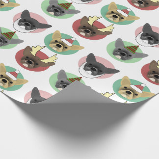 Christmas Bulldog Puppies Wrapping Paper