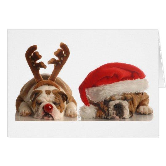 Christmas Bulldogs in Santa Hats Card