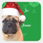 Christmas bullmastiff puppy gift tag stickers