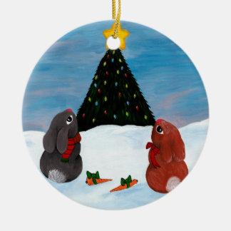 Christmas Bunnies Round Ceramic Decoration