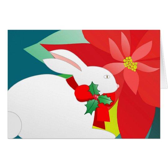 Christmas bunny and poinsettia card