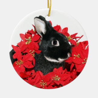 Christmas bunny round ceramic decoration