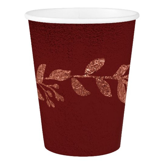 Christmas Burgundy Pink Rose Gold Paper Cup