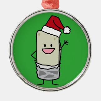 Christmas Burrito Waving Hello Santa Hat Holiday Silver-Colored Round Decoration