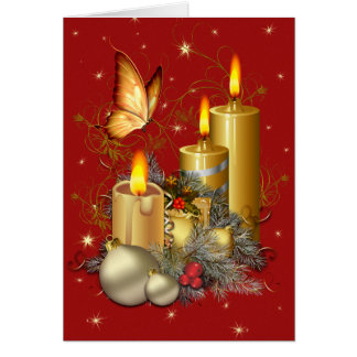 Christmas Butterfly and Candles Greeting Card