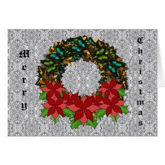 Christmas Butterfly Poinsettia Wreath GreetingCard Card