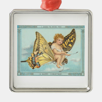 Christmas Butterfly Silver-Colored Square Decoration