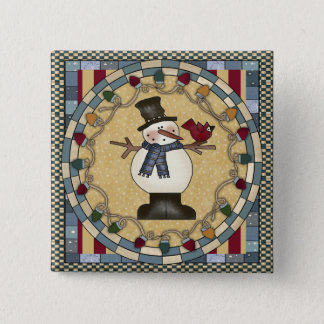 Christmas Button - Snowman And Red Bird