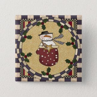 Christmas Button - Snowman In A Mitten