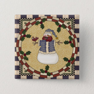 Christmas Button - Winter Dressed Snowman