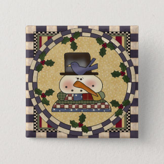 Christmas Button - Winter Snowman