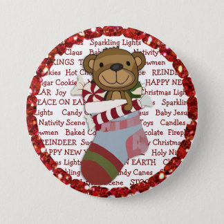 Christmas Button with Teddy Bear in Stocking
