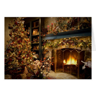 Christmas By The Fireplace Greeting Card