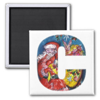 CHRISTMAS C LETTER  / SANTA  WITH GIFTS MONOGRAM SQUARE MAGNET