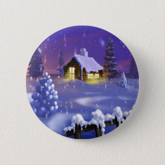 Christmas Cabin 6 Cm Round Badge