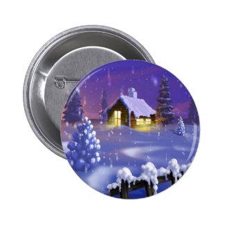 Christmas Cabin 6 Cm Round Badge