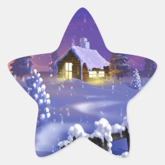 Christmas Cabin Star Sticker