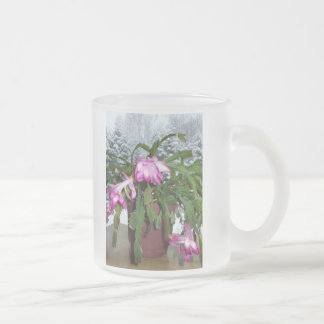 Christmas Cactus and Winter Window Scene Frosted Glass Mug