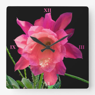 Christmas Cactus Square Wall Clock