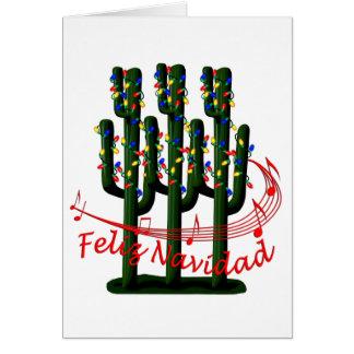 Christmas Cactus Tree Feliz Navidad Greeting Card