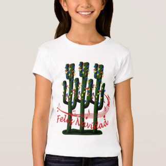 Christmas Cactus Tree Feliz Navidad Kids Shirt