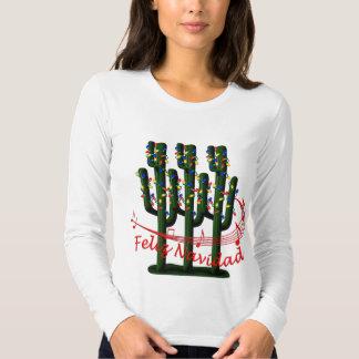 Christmas Cactus Tree Feliz Navidad Ladies LS T Tee Shirt