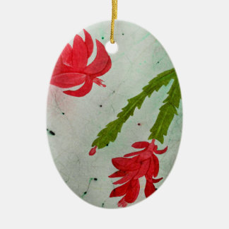 Christmas Cactus watercolor Ceramic Oval Decoration
