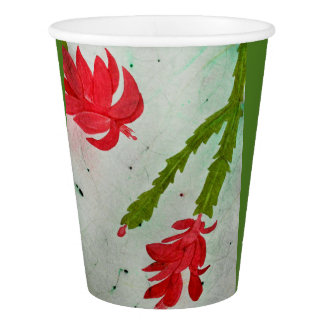 Christmas Cactus watercolor Paper Cup