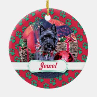 Christmas - Cairn Terrier - Jewel Round Ceramic Decoration