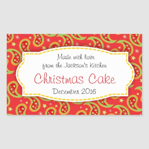 Christmas cake paisley red food label sticker