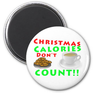 Christmas Calories Don't Count Humor Funny 6 Cm Round Magnet