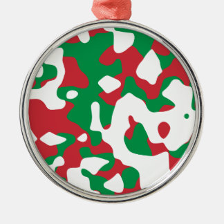 Christmas Camouflage Silver-Colored Round Decoration