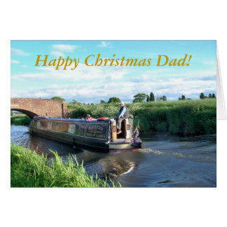 CHRISTMAS CANAL BOATS GREETING CARD