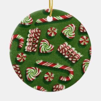 christmas candies round ceramic decoration