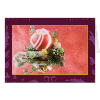 Christmas candle and gumdrops greeting card