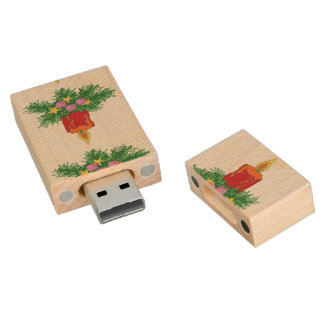 Christmas Candle Cross Stitch Wood USB 2.0 Flash Drive