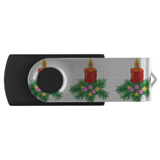 Christmas Candle Cross Stitch Swivel USB 2.0 Flash Drive