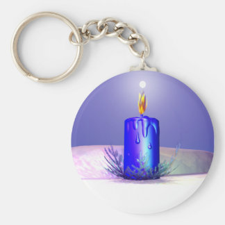 Christmas Candle Night Blue Basic Round Button Key Ring