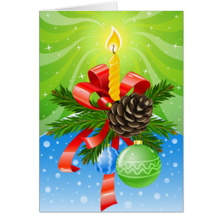 Christmas Candle Photo Frame Greeting Card