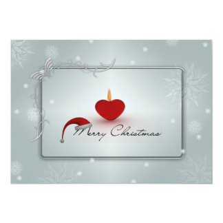 Christmas Candle & Snowflakes Double Sided 13 Cm X 18 Cm Invitation Card
