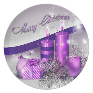 Christmas Candles Purple Sparkle Plate